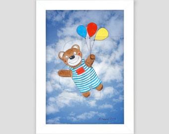 Osito feliz volando, dibujo infantil, cuadro dibujado, pintura de acuarela de la mano de impresión, imagen, enmarcada, marco de madera de color, impresión, arte A4
