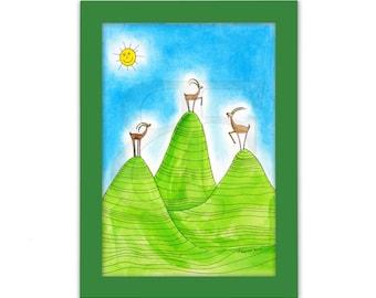 Tres cabras alpinas, zodiac, dibujo infantil, cuadro dibujado de la mano, acuarela, impresión, imagen, marco, marco de madera de color, impresión de Bellas Artes, A4