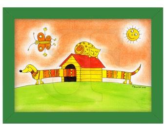 Feliz perro y gato, niño dibujo cuadro dibujado, pintura de acuarela de la mano, imprimir, imagen, marco, marco de madera de color, impresión, arte A4