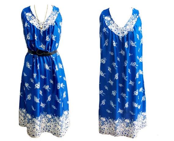 Vintage 1970's Mediterranean Blue long sundress fl