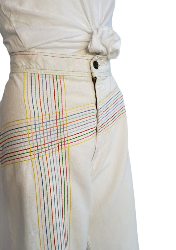 vintage 70s jeans white rainbow pants embroidered… - image 8