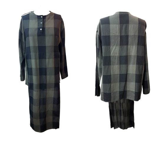 Vintage 80s baldanza plaid shirt kaftan tunic shir