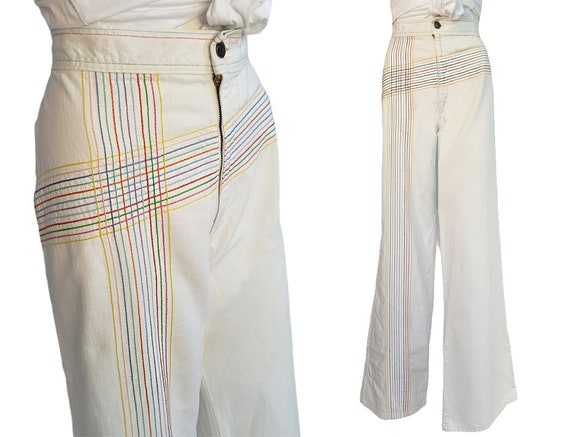 vintage 70s jeans white rainbow pants embroidered… - image 1