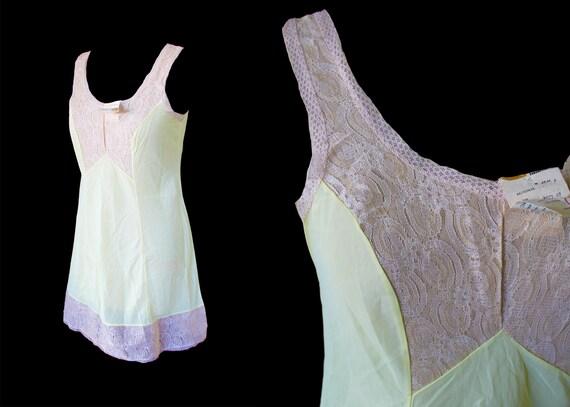 1970s vintage slip dress light yellow lace slip dr