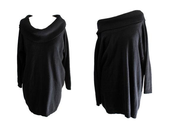 bdeecf2b4d0 Vintage 80s sweater dress black knitted cowl neck winter