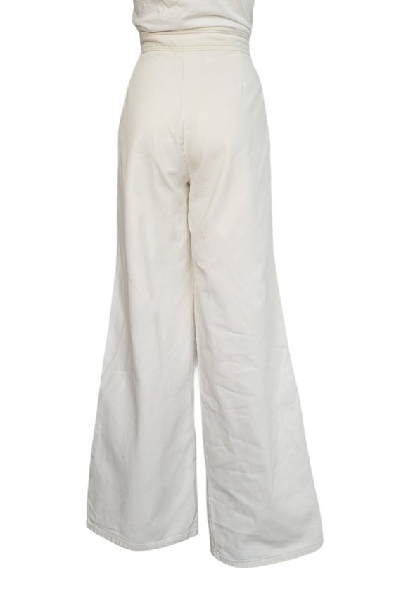 vintage 70s jeans white rainbow pants embroidered… - image 5