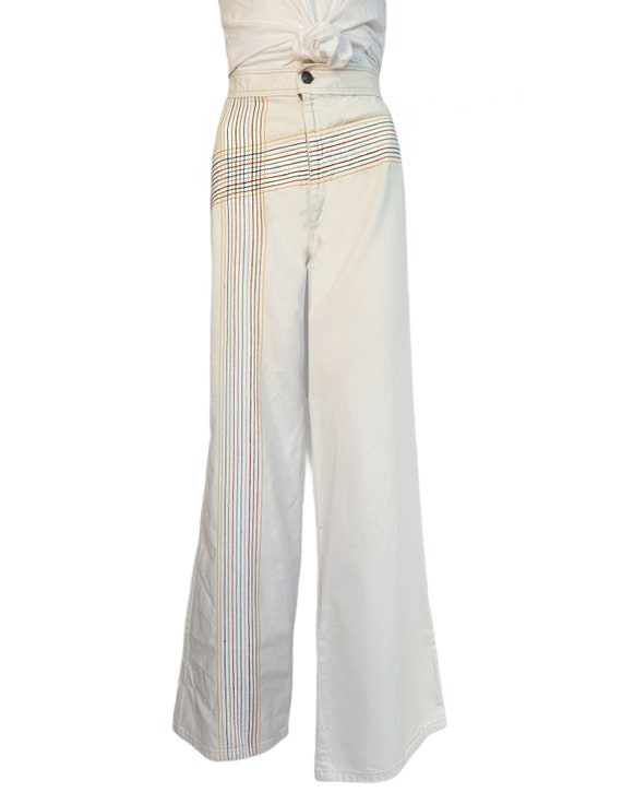 vintage 70s jeans white rainbow pants embroidered… - image 2
