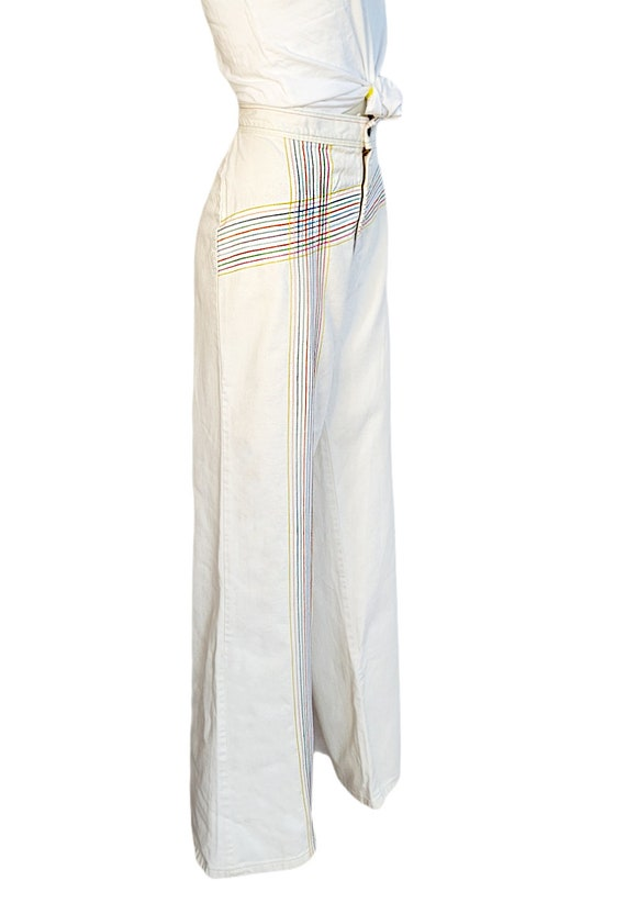 vintage 70s jeans white rainbow pants embroidered… - image 3