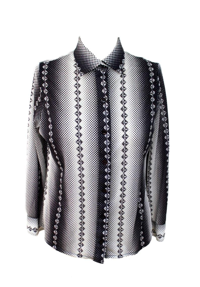 Vintage 1970s black and white kaleidoscope shirt 70s blouse 70s shirt