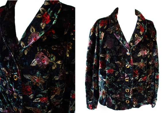 Vintage 1980's flower crushed velvet jacket black