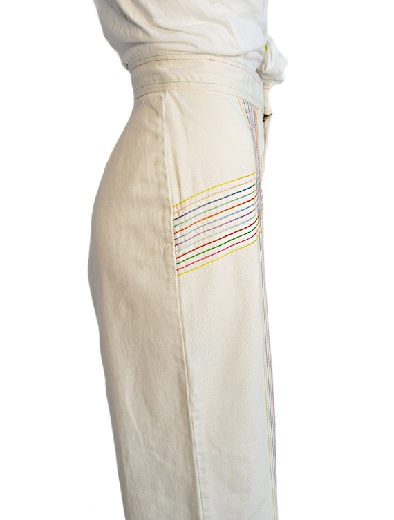 vintage 70s jeans white rainbow pants embroidered… - image 6
