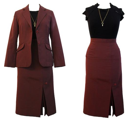 Vintage 1970s matching set burgundy jacket & pleat