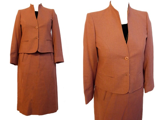 Vintage 1970s matching set peach jacket & pleated
