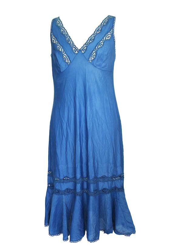 1970s vintage slip dress blue lace slip dress | v… - image 3