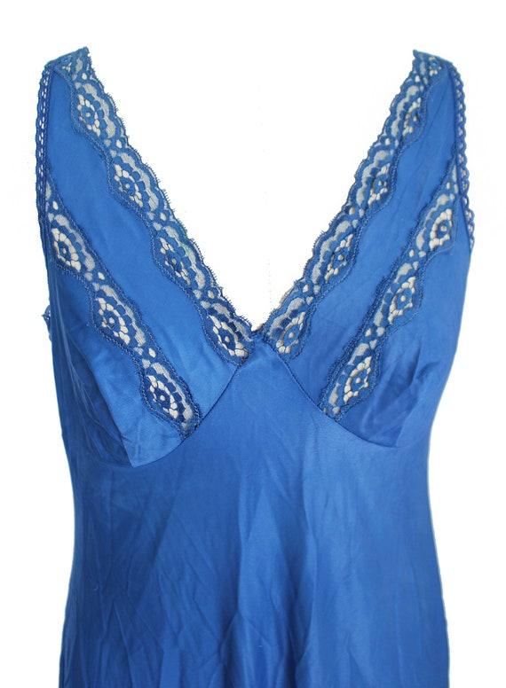 1970s vintage slip dress blue lace slip dress | v… - image 2