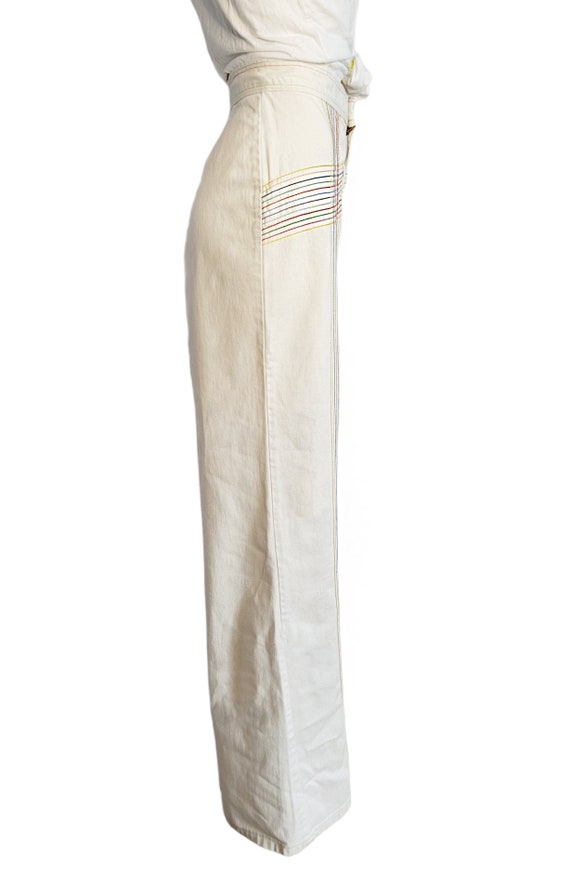 vintage 70s jeans white rainbow pants embroidered… - image 7