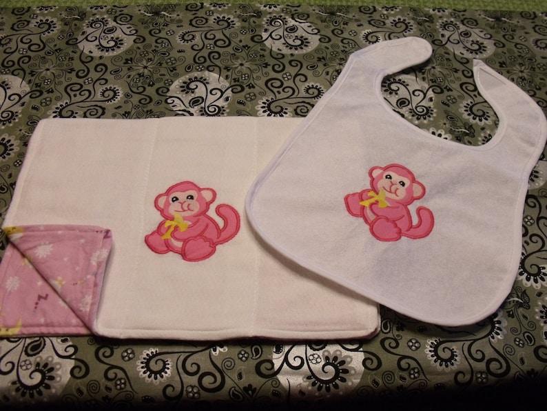 newborn gift Baby Girl bib and burp cloth baby girl gift Monkey bib and Burp Cloth girl -Applique burp cloth shower gift