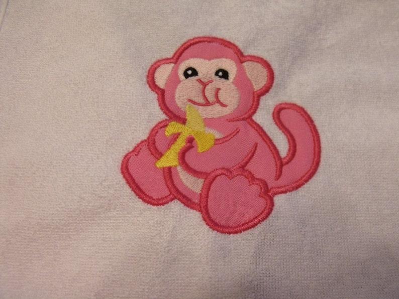 shower gift Baby Girl bib and burp cloth baby girl gift bib and Burp Cloth girl -Applique Monkey newborn gift burp cloth