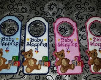 Baby Sleeping Door Hanger Baby Sleeping sign - Baby Sleeping Door Hanger Embroidered - Baby Sleeping Sign Baby Gift For New Mom