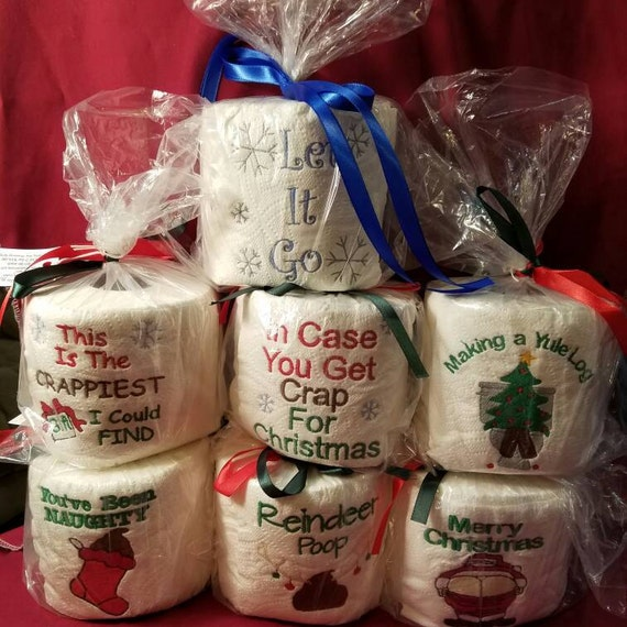 Gag Gifts For Christmas Party: CHRISTMAS EMBROIDERED Toilet Paper Secret Santa Gag Gift