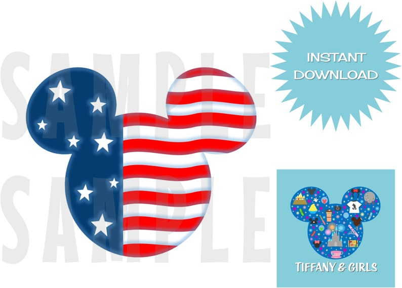 picture about Printable American Flag called PRINTABLE American Flag Mickey Magnet or Iron-Upon for Disney Cruise Disney Environment Getaway