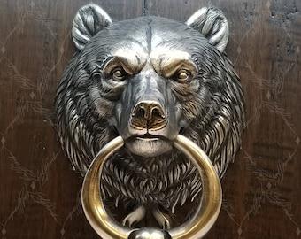Bear Head Door Knocker, High Polish Nickel Plated Cast Bronze