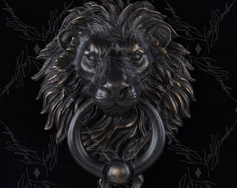 Lion Door Knocker with Ball Ring. Cast Bronze with a Rubbed Black Patina Finish.