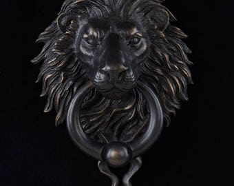 Black Finish Bronze Lion Head Door Knocker With Ball Ring. Curb Appeal.  Architectural Details, Accents