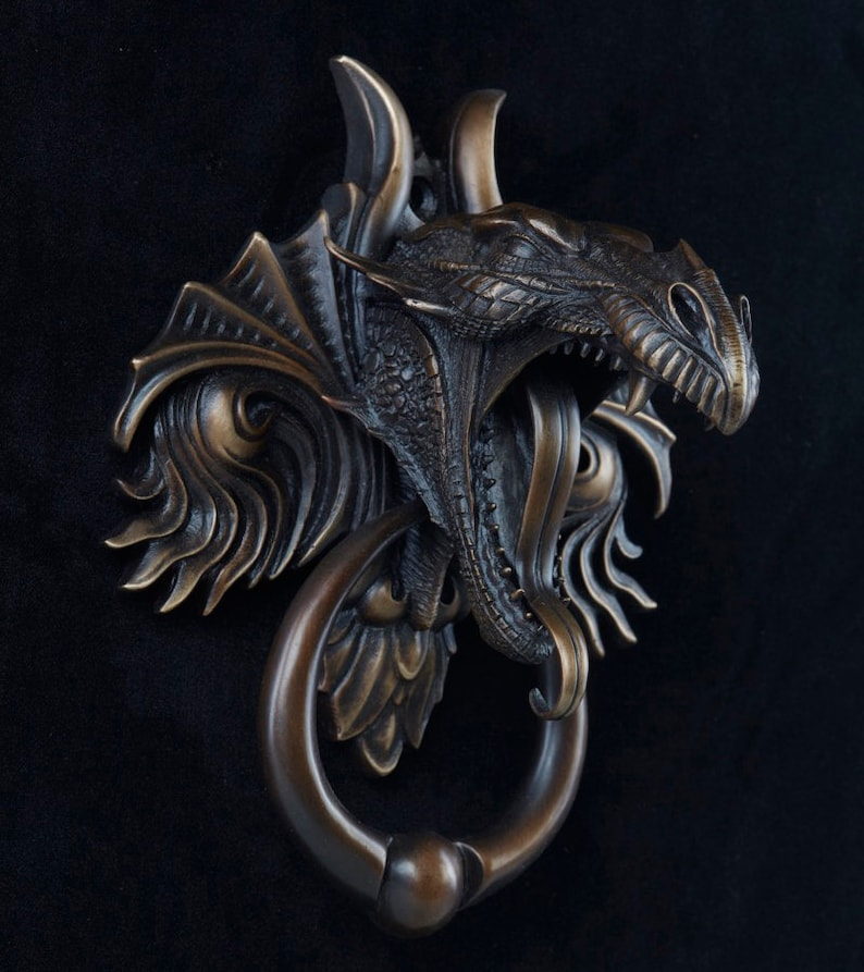 Dragon Door Knocker, Cast Bronze With A Classic Brown Bronze Patina Finish.