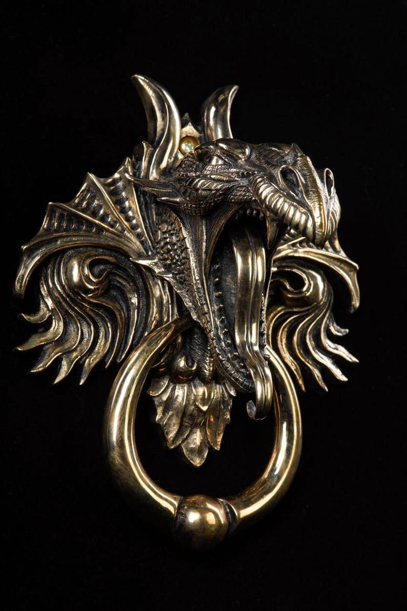 Charmant Dragon Door Knocker. Cast Bronze With A Mirror Polished Bronze Finish.