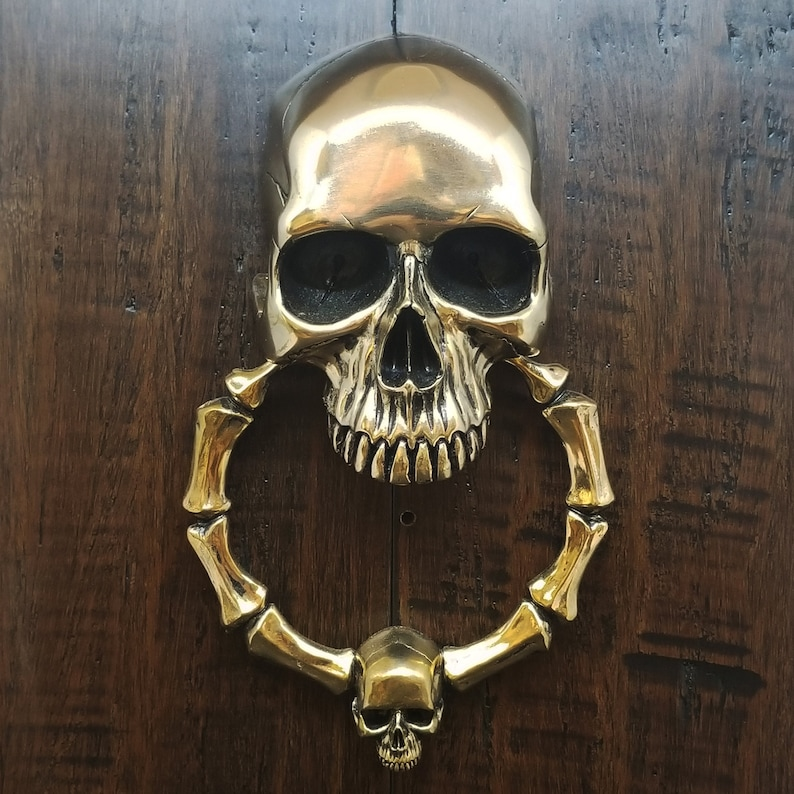 Skull Door Knocker Cast Bronze with a Bright High Polished image 0