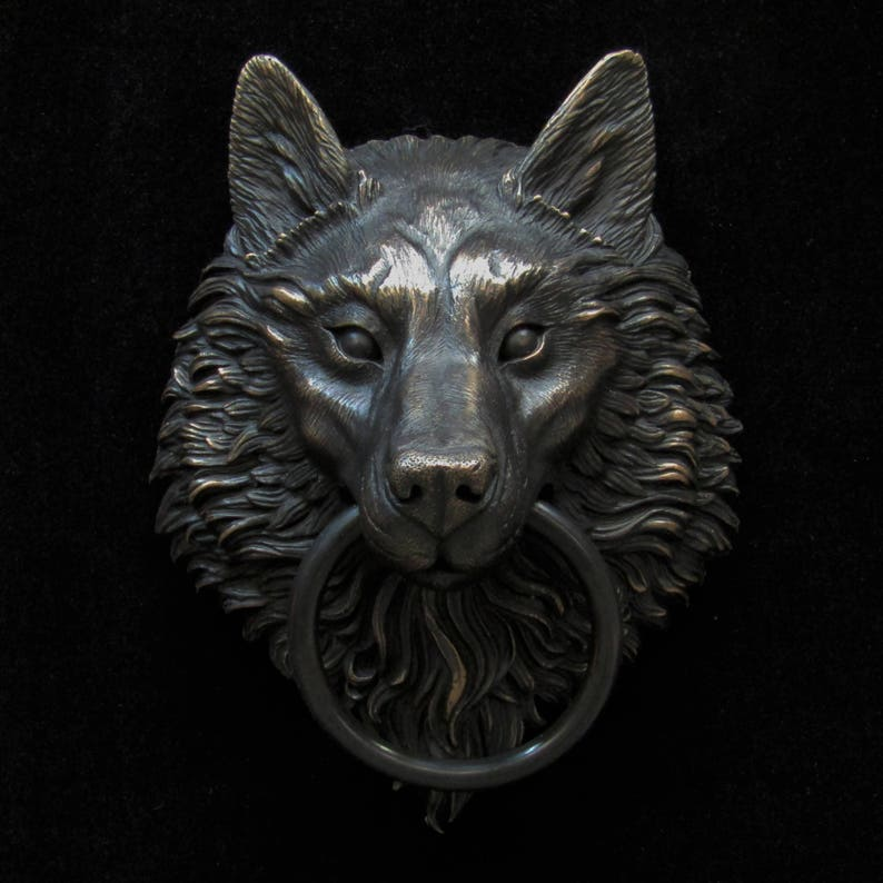Merveilleux Wolf Head Door Knocker, Cast In Bronze With A Rubbed Black Patina Finish