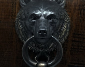 Bear Door Knocker With Ball Ring, Cast Bronze with a Rubbed Black Finish