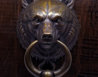 Bear Door Knocker With Ball Ring, Cast Bronze in Classic Brown Bronze Patina Finish.