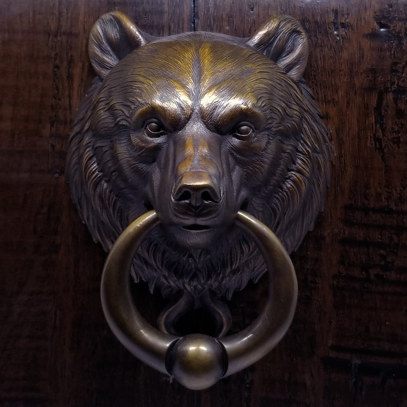 Bear Door Knocker With Ball Ring Cast Bronze in Classic Brown image 0