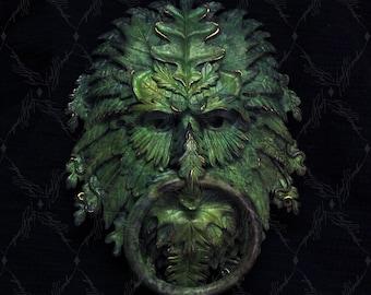 Green Man Door Knocker, Cast Bronze with a Verdigris Patina.