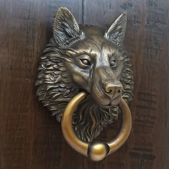 Wolf Door Knocker, Cast Bronze With A Classic Brown Bronze Finish.