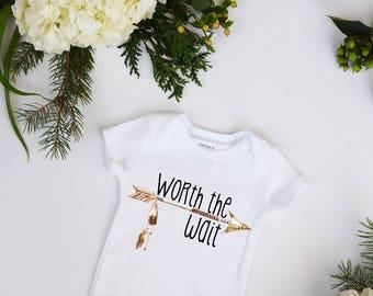 Worth the Wait Feathers Boho Baby Bohemian Neutral IVF Rainbow Baby Bodysuit