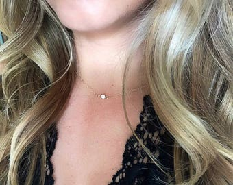 CZ Tiny Diamond 14k Gold Filled, Sterling Silver or Rose Gold Filled Chain, Simple Everyday Jewelry, Solitaire Necklace