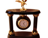 Obsidian quartz clock with brass elements and Pegasus on the top of it mantel clock home decor luxurious clock