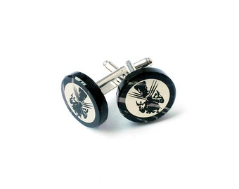 FREE SHIPPING ready for shipping and in the gift box conspiracy theory Mason symbol cufflinks made from obsidian
