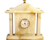 Victorian style mantel clock made of natural onyx table and fireplace quartz clock home and office decor business gift