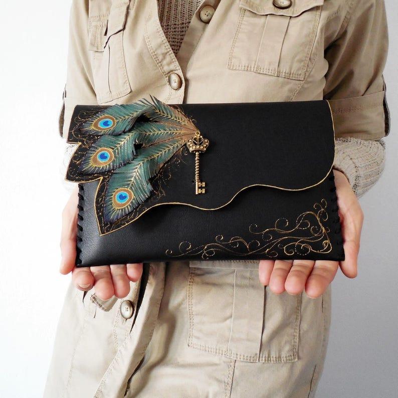 Peacock feathers clutch bagPainted bagUnique leather Black