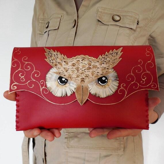 Harry Potter Eule Rote Eule Tasche Rot Leder Handtasche Etsy