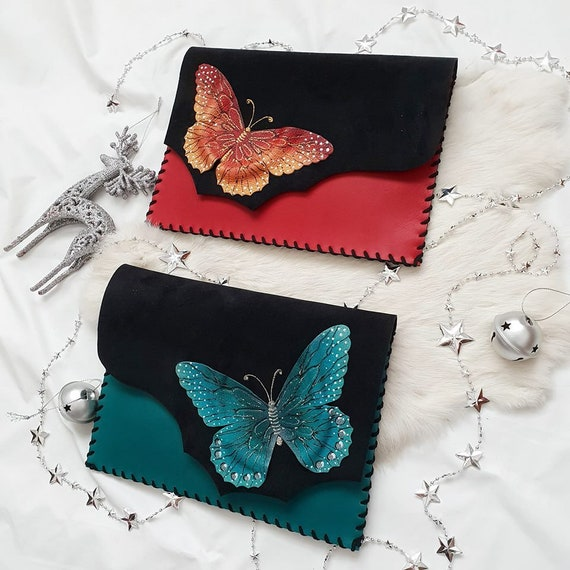 f532a4c6351 Butterfly clutchAnniversary GiftUnique bagPainted   Etsy