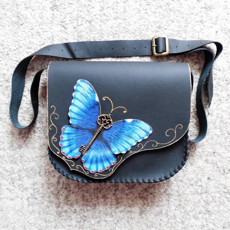 Morpho Papillon Butterfly Sac Bandoulière À PeintEtsy Bleu jq3R5A4L