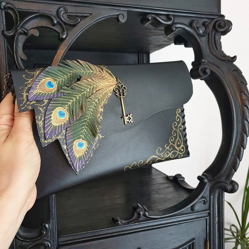 Peacock feathers clutch bagPainted bagUnique leather image 0