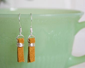 Minimalist Recycled Leather Earrings, Upcycled Suede Earrings, Silver Leather Earrings, Rustic Earrings, Mustard Earrings