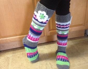 8e01d8fab32 Knee high fun flowered socks green