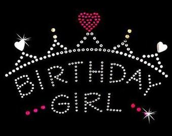 Rhinestone Transfer - Hot Fix Motif - Birthday Girl